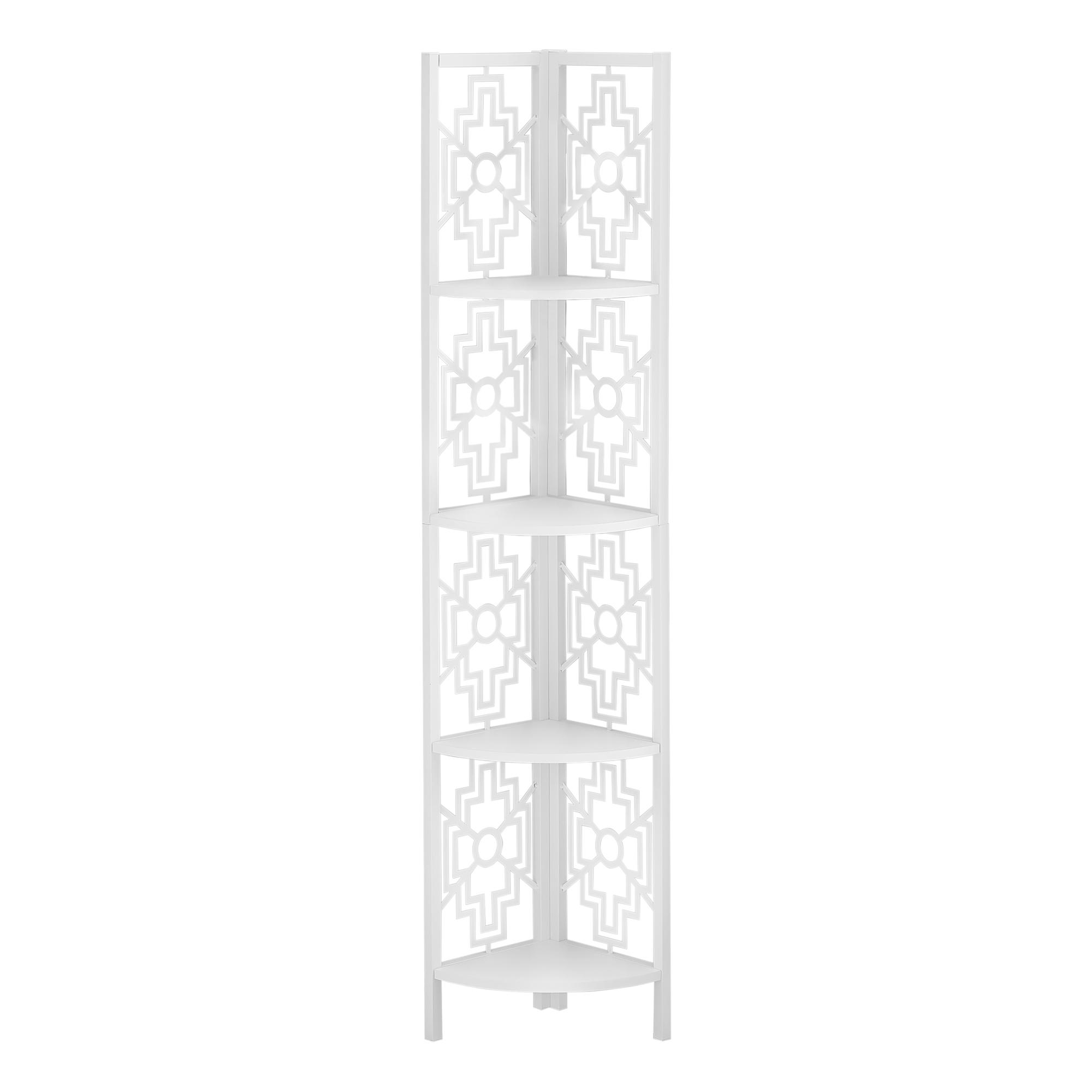 """15.5"""" X 11"""" X 61.5"""" White Metal Corner Etagere Bookcase"""