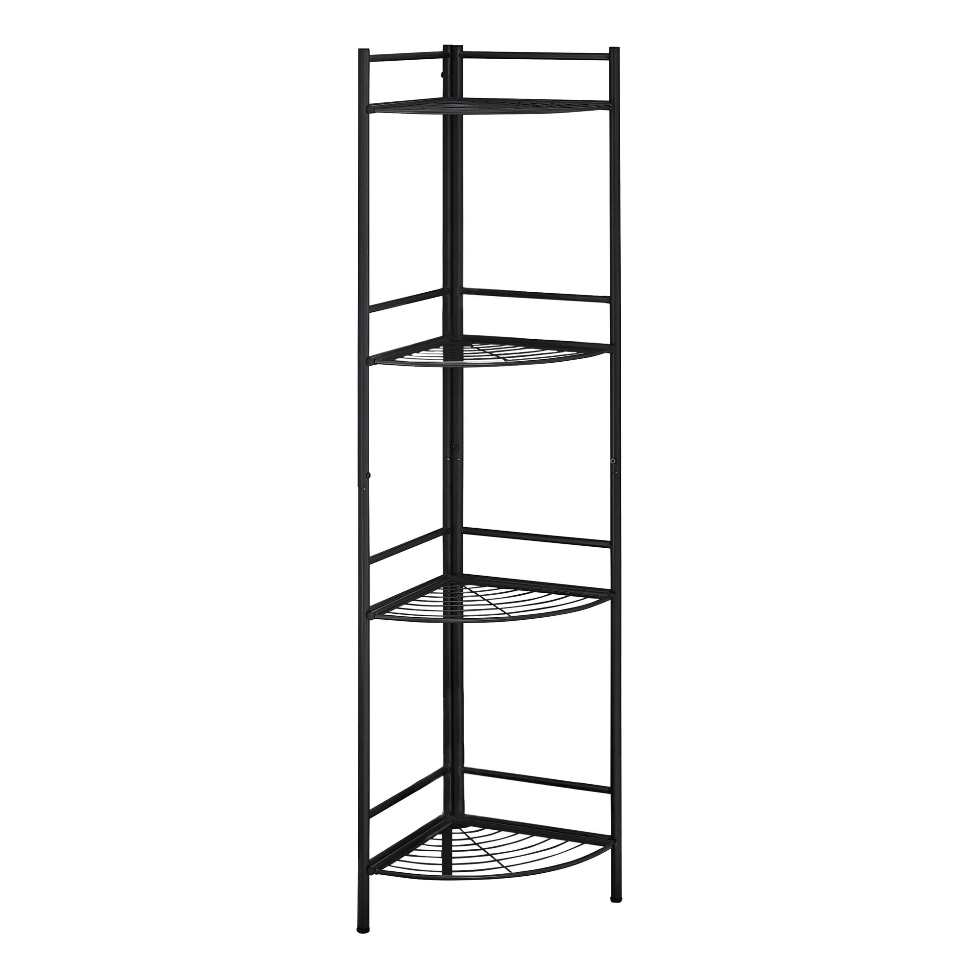"18.5"" X 13.5"" X 57.75"" Black Metal Corner Etagere Bookcase"