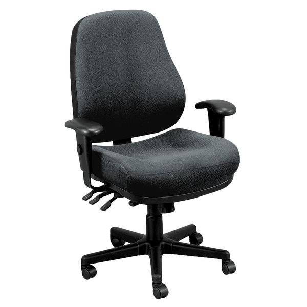"26.8"" x 21"" x 38.5"" 580 Charcoal Tilt Tension Control Fabric Chair"