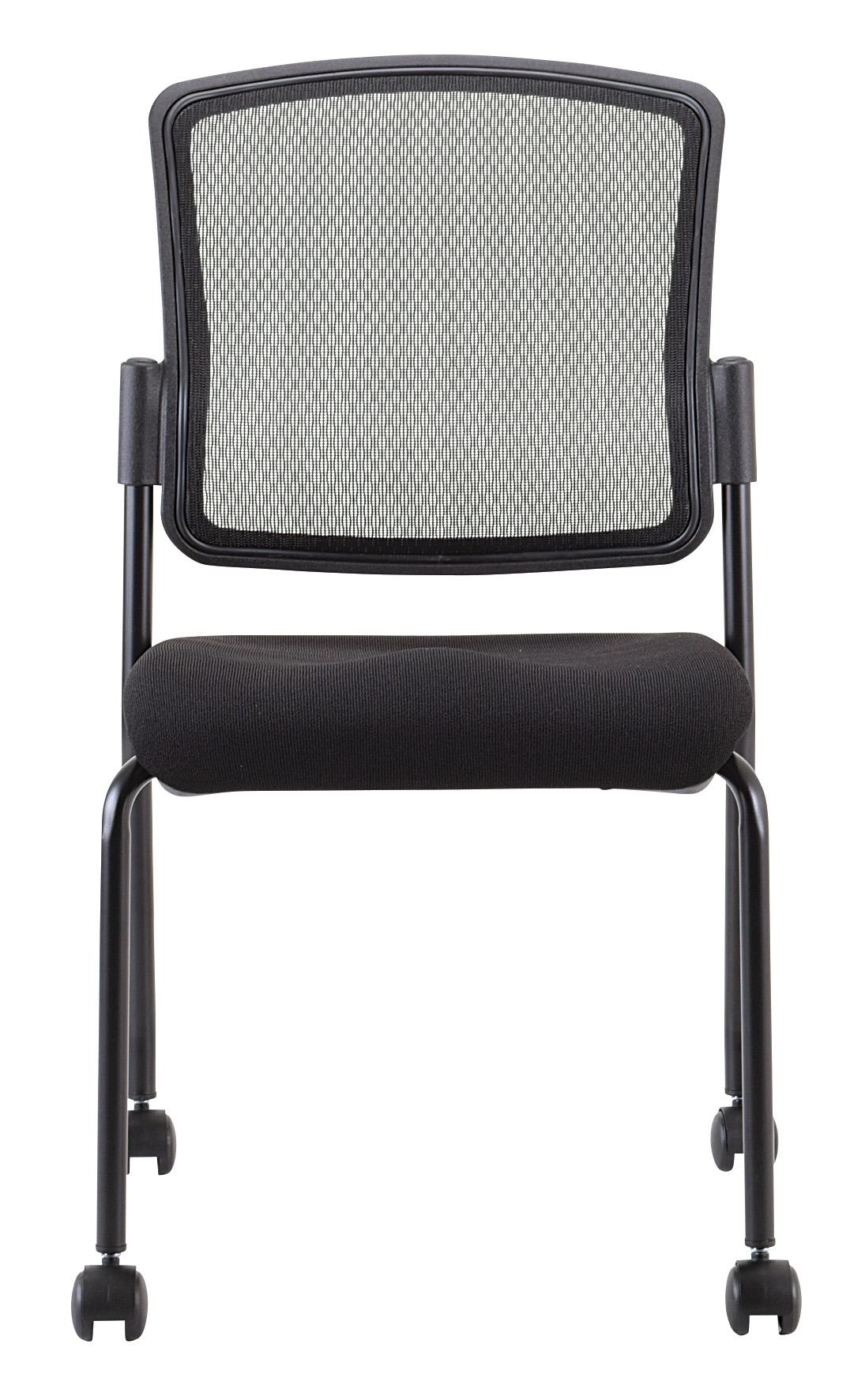 "19"" x 25"" x 35.5"" Black Mesh Fabric Guest Chair"
