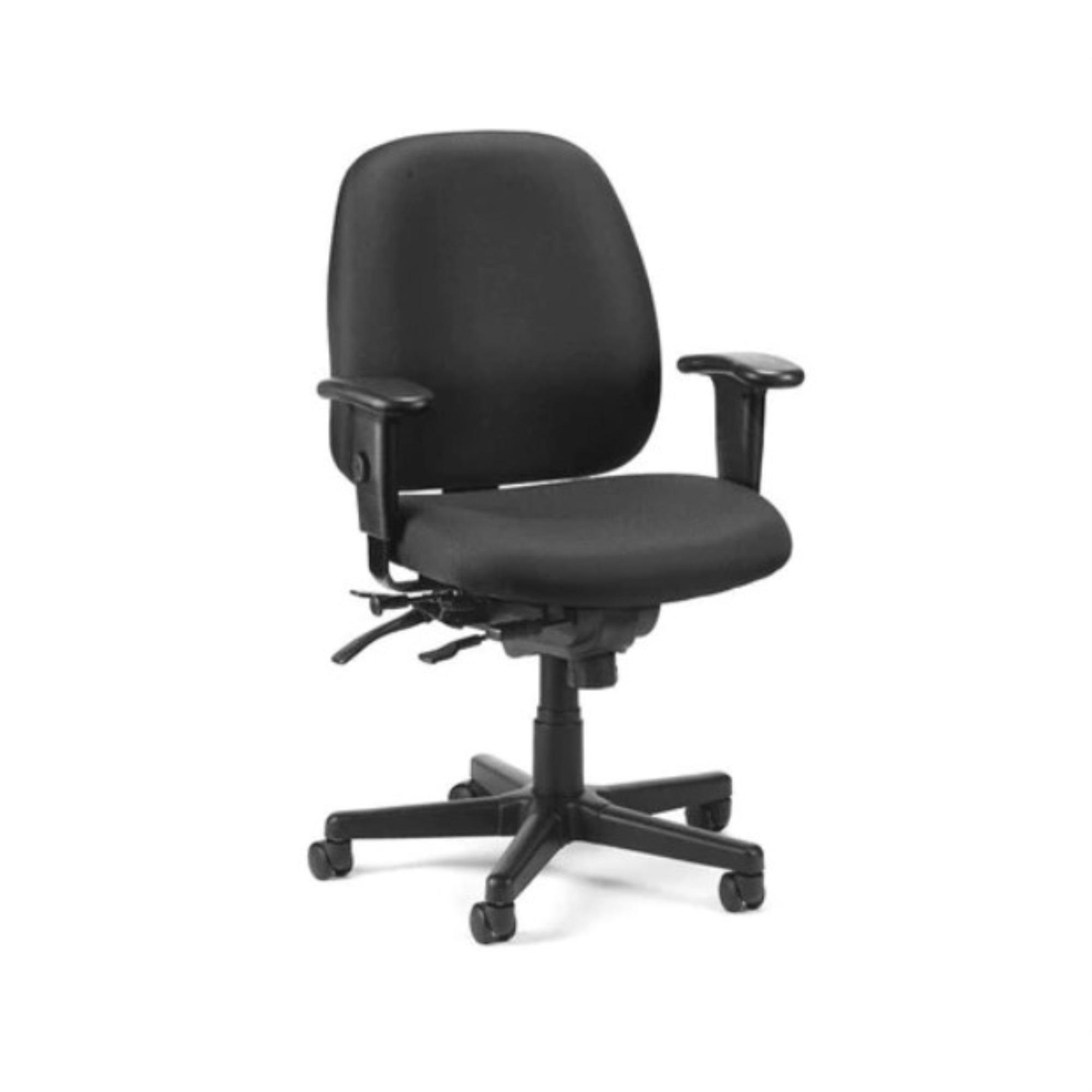 "29.5"" x 26"" x 37"" Black Fabric Seat Slider Swivel"