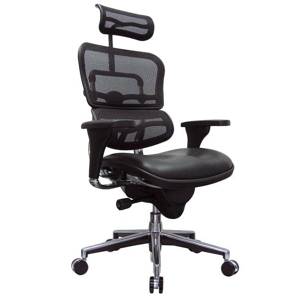 "26"" x 27.5"" x 46"" Black Leather / Mesh Chair"