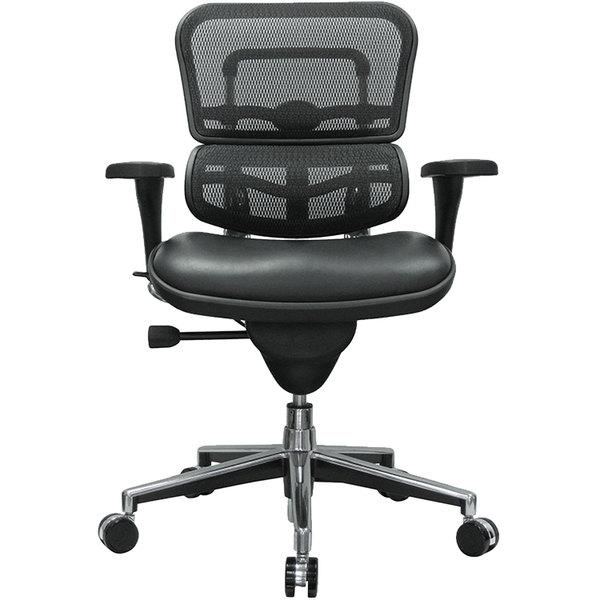 "26"" x 27.5"" x 40"" Black Leather / Mesh Chair"