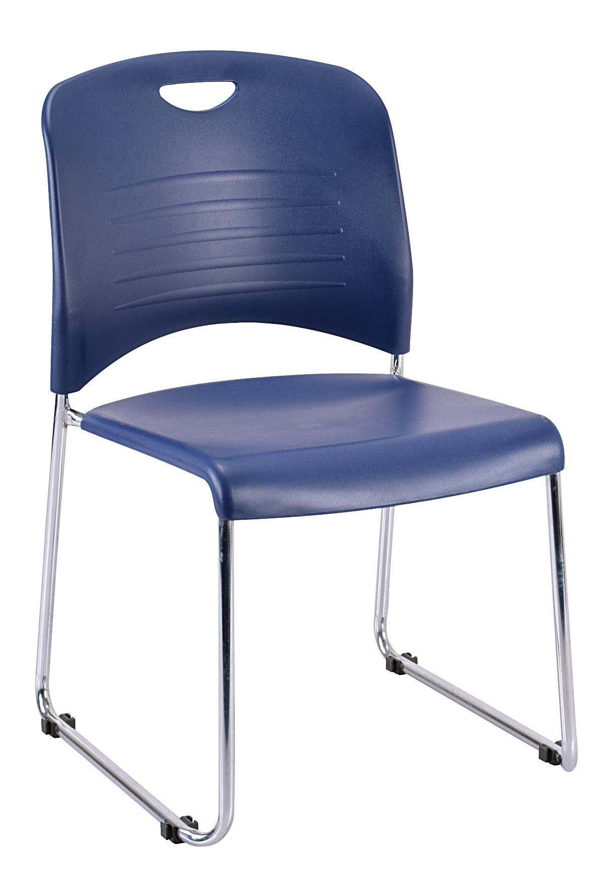 "18"" x 22.5"" x 33.5"" Navy Plastic Guest Chair"