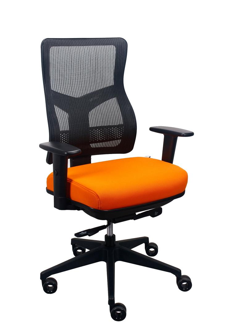 "26.5"" x 23"" x 36.69"" Orange Mesh / Fabric Chair"