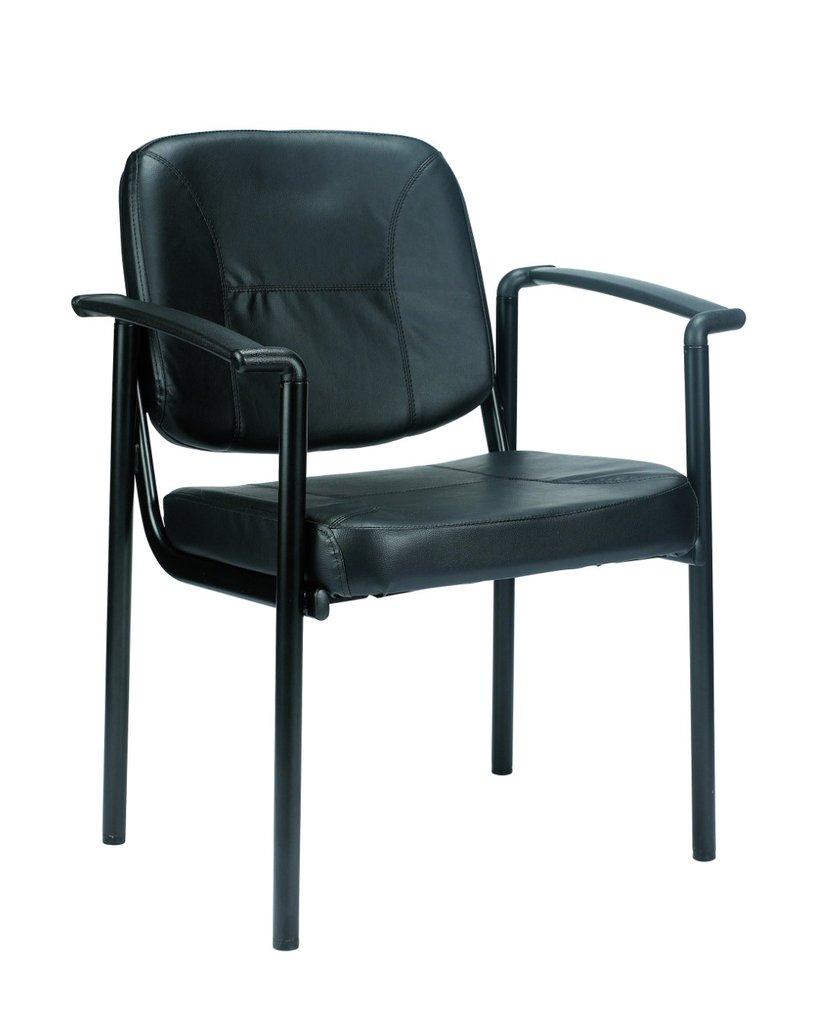 "26"" x 18.5"" x 32.7"" Black Vinyl Guest Chair"