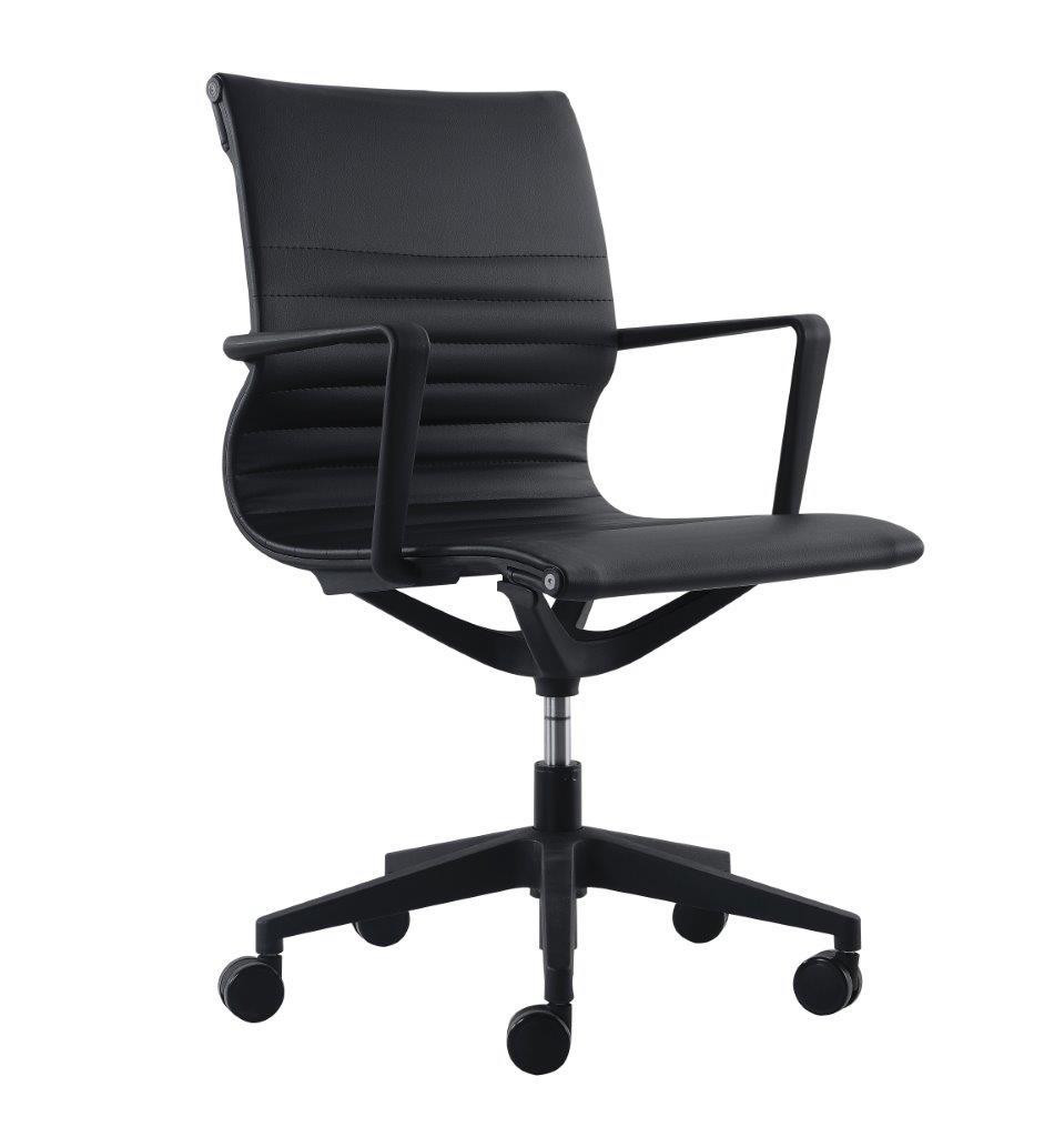 """23.8"""" x 20.8"""" x 35.8"""" Black Vinyl Flex Tilt Chair"""