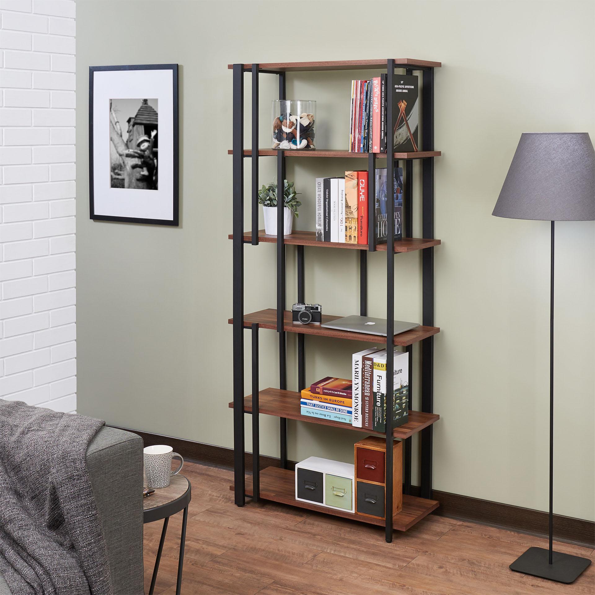 """32"""" X 13"""" X 70"""" Walnut & Sandy Black Wood Bookshelf"""