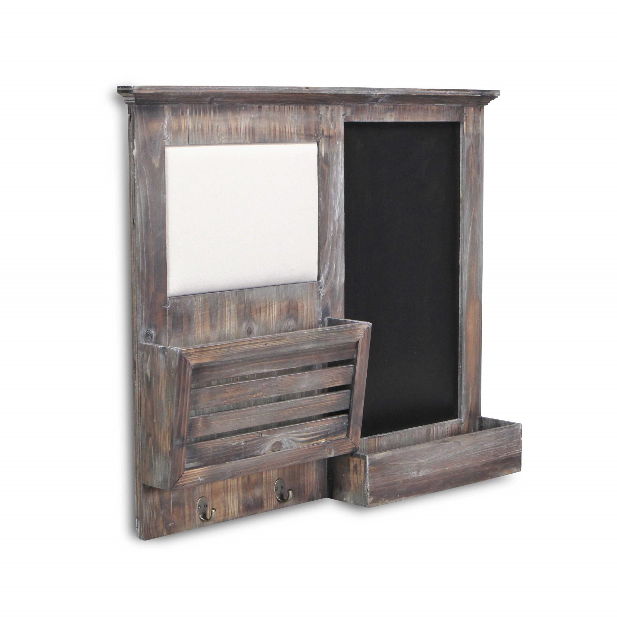 Gray Wooden Wall Chalkboard with Side Storage Basket