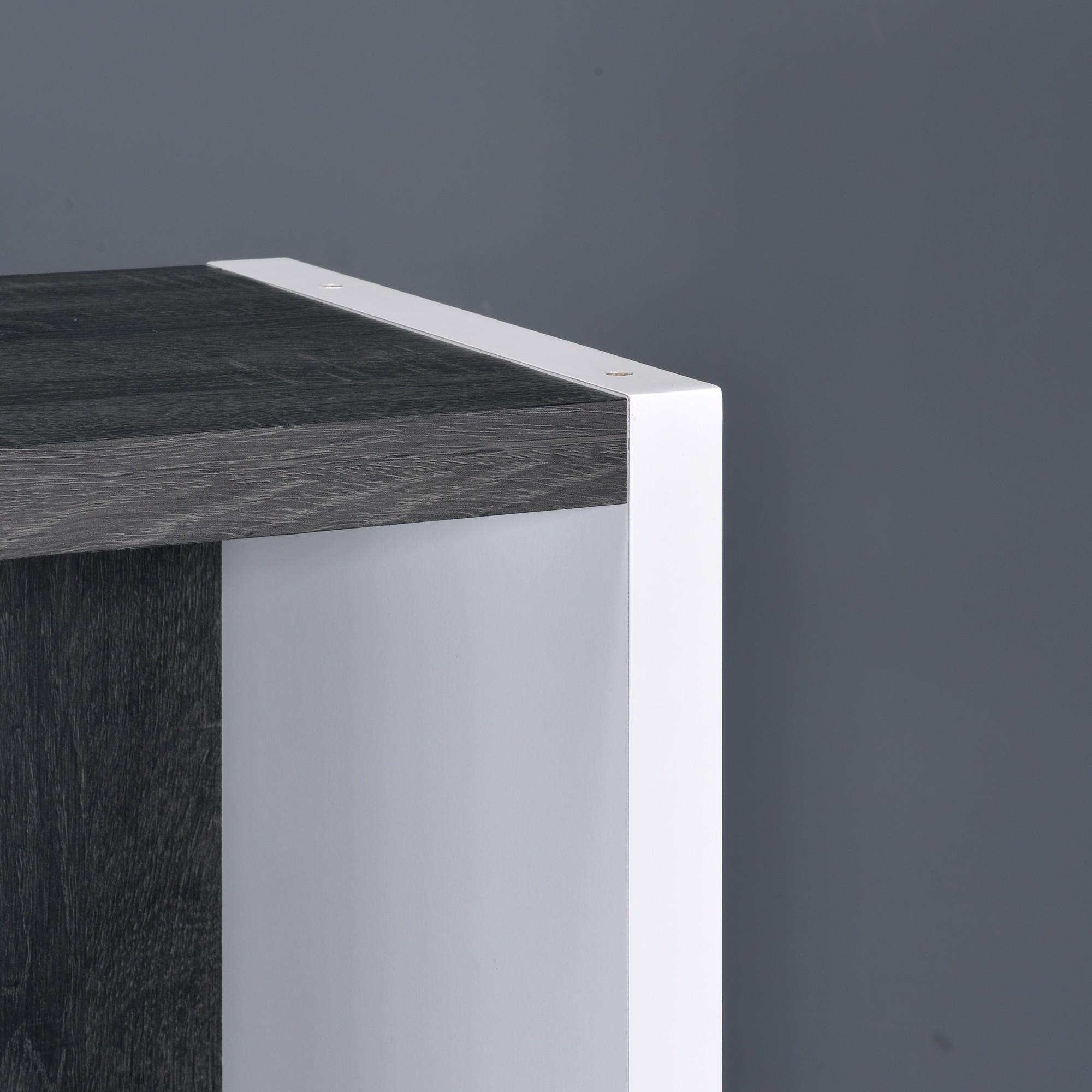 Versatile Six Shelf White and Gray Cubby Bookshelf