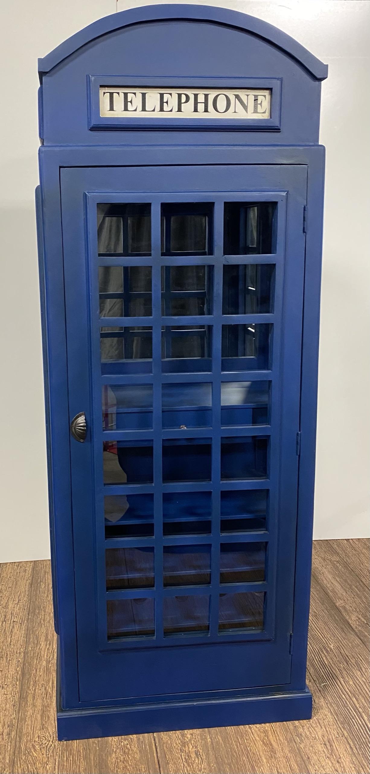 Vintage Blue Wooden Phone Booth Bar Cabinet
