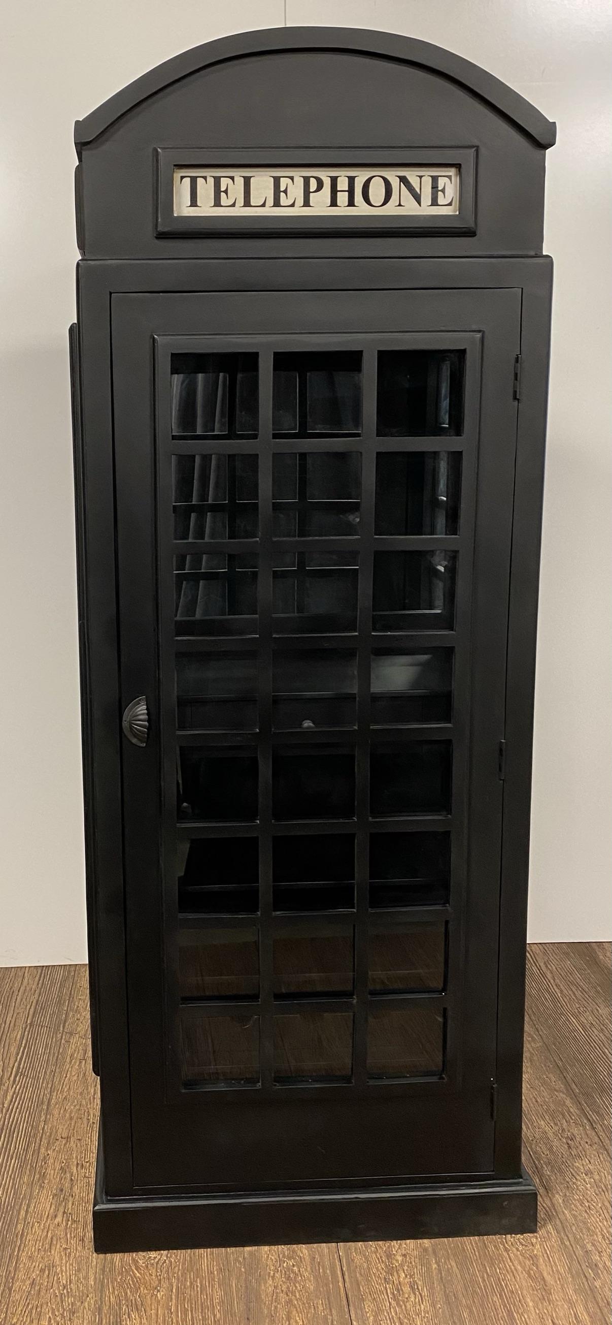 Vintage Black Wooden Phone Booth Bar Cabinet