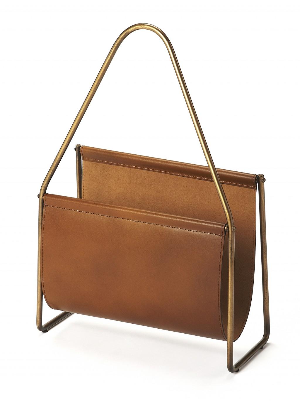 Brown Leather Magazine Basket