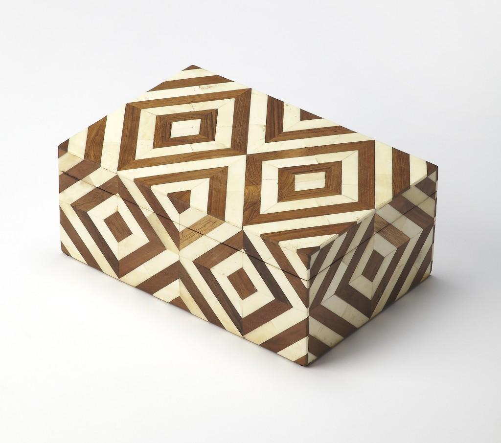 Wood and Bone Inlay Storage Box