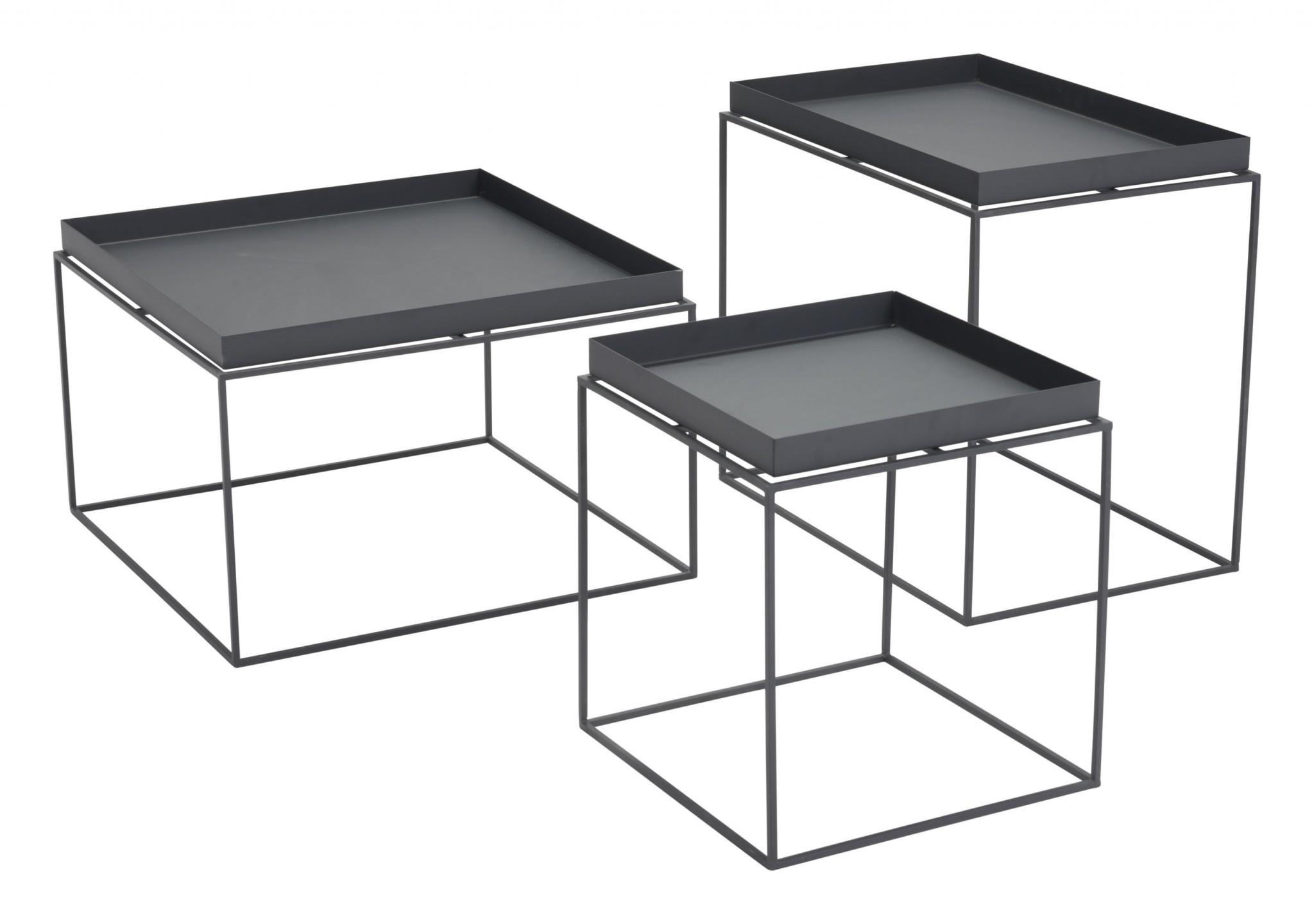 "23.6"" x 23.6"" x 15.7"" Black, Steel, Nesting Table"