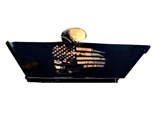 Rustic Patriotic Flag USA Steel Flag Wood Burning Firepit