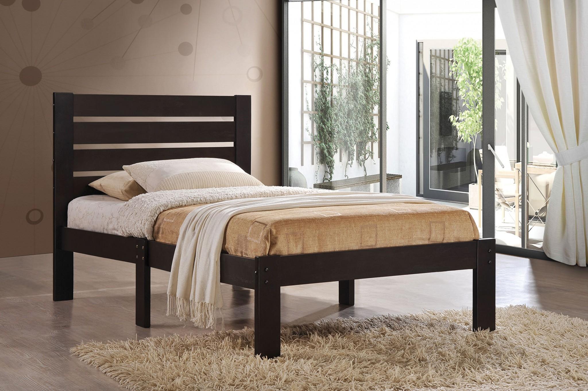 """78"""" X 42"""" X 39"""" Twin Espresso Poplar Wood Bed"""