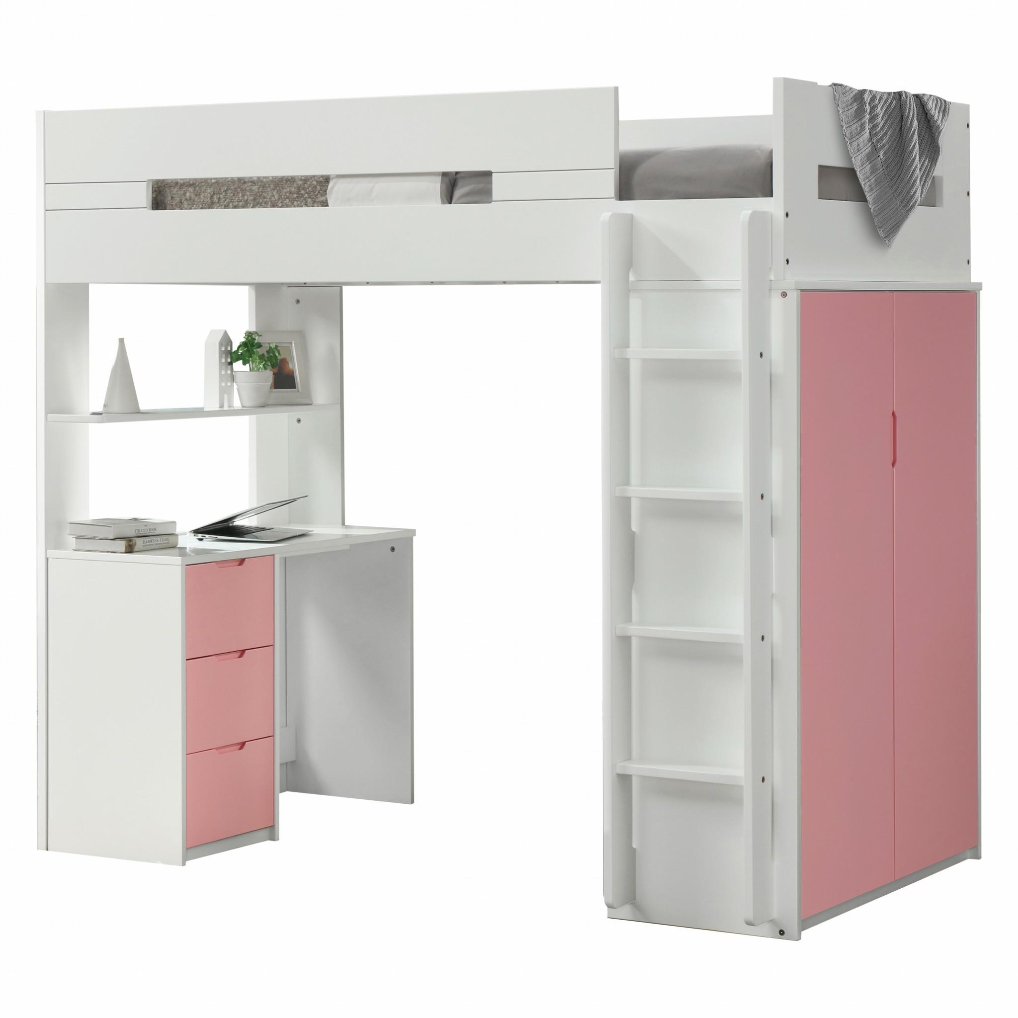 "78"" X 41"" X 70"" White And Pink Laminated Veneer Lumber Loft Bed"