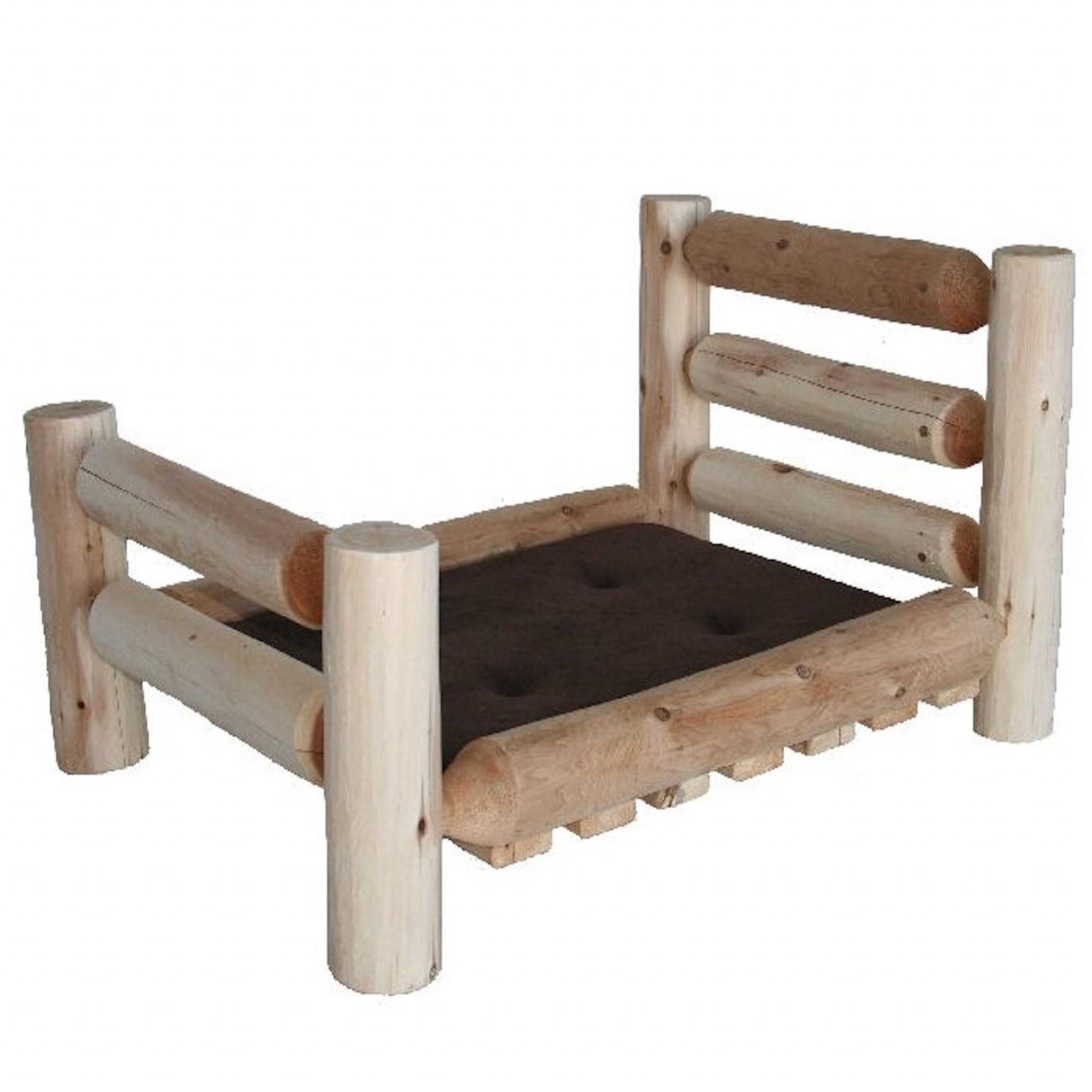 Rustic and Natural Cedar Log Large Replica Pet Bed