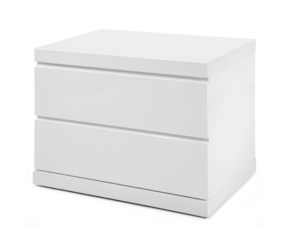 Modern White High Gloss Finish 2 Drawer Nightstand