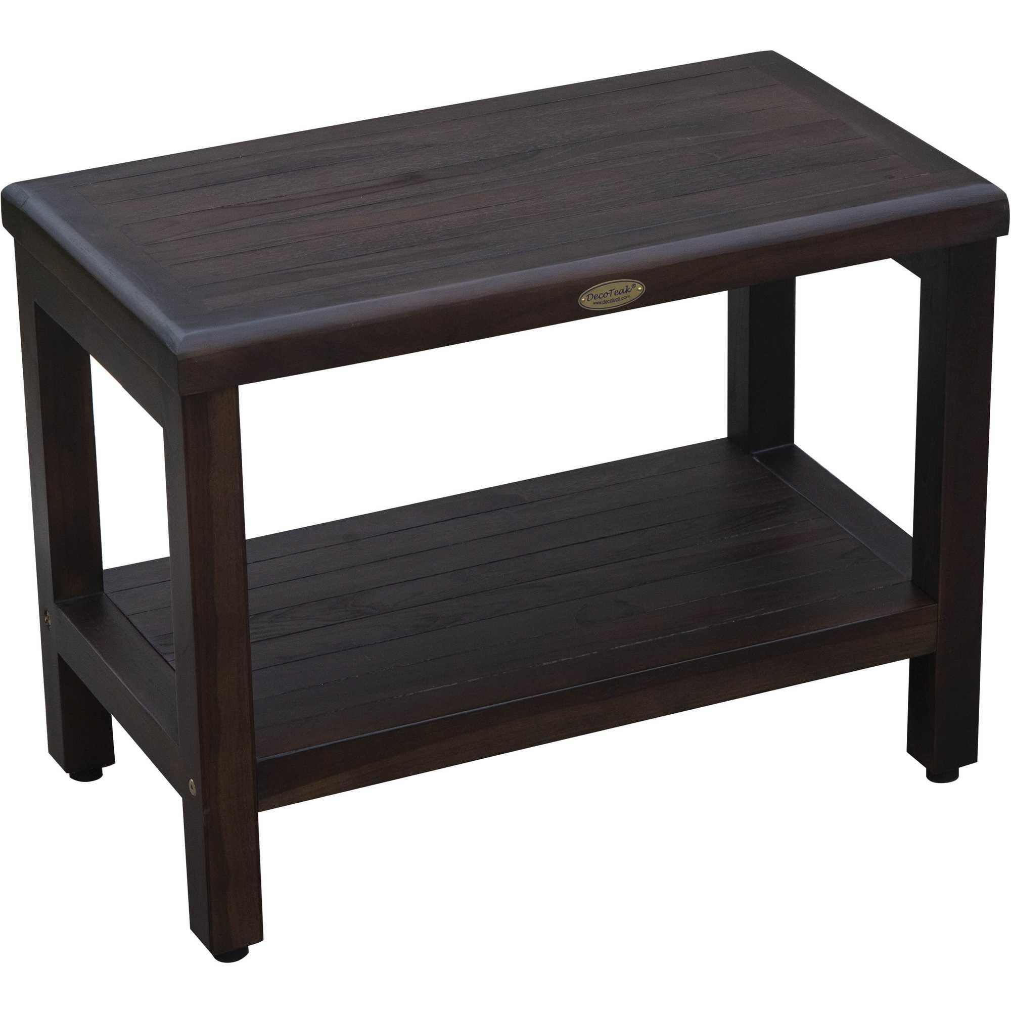 Rectangular Teak Shower Bench with Shelf in Brown Finish
