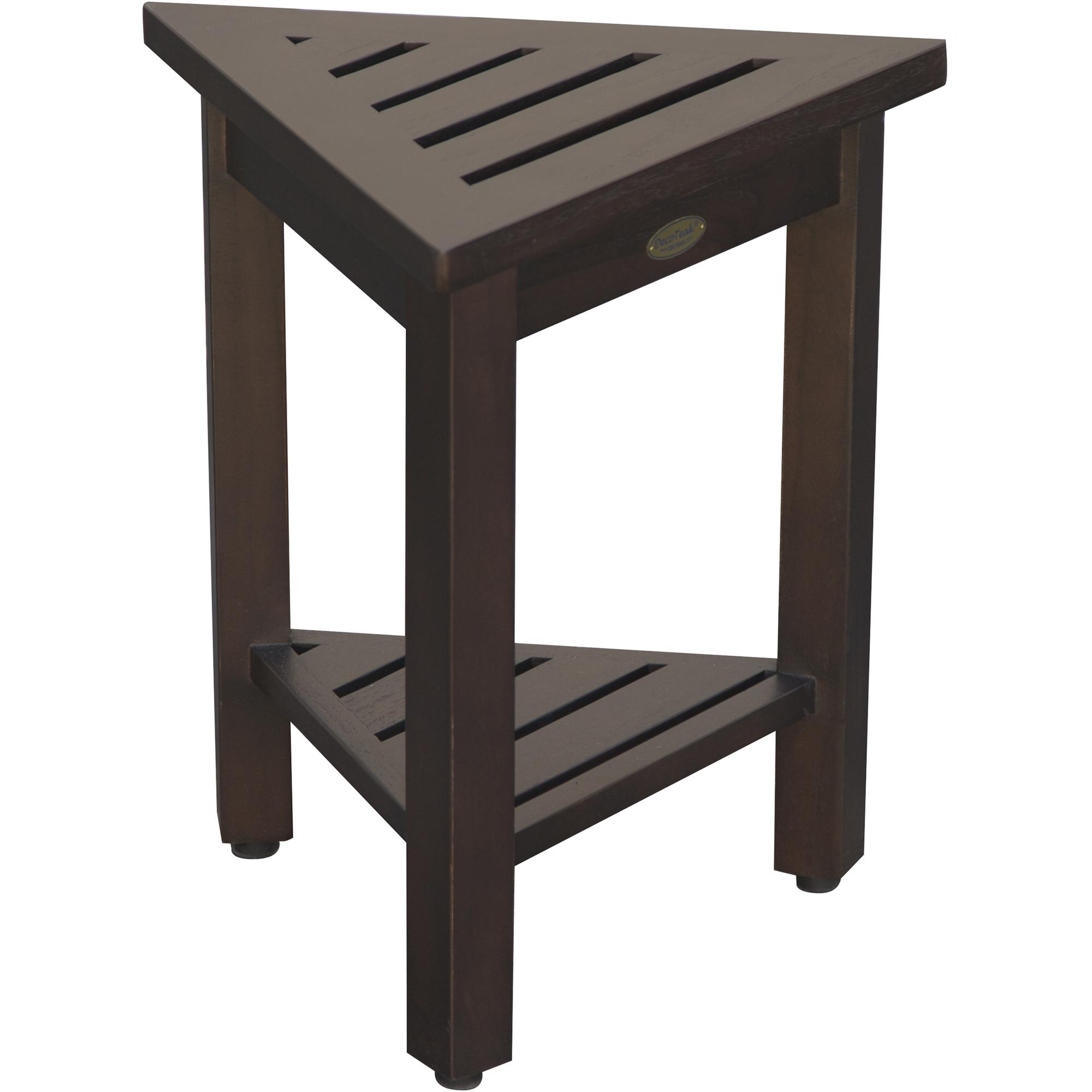 "18"" Teak Corner Shower Stool or Bench with Shelf in Brown Finish"