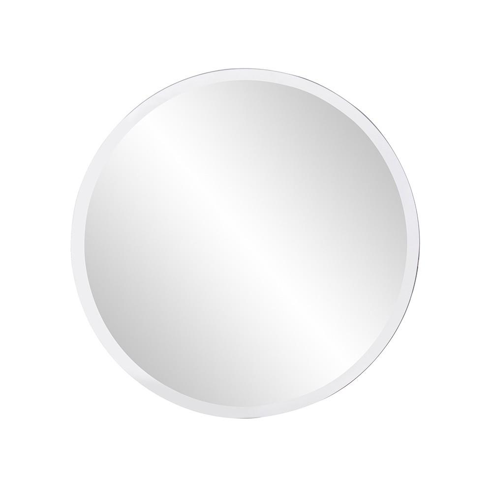 "12"" x 12"" Minimalist Round Mirror with Beveled Edge"