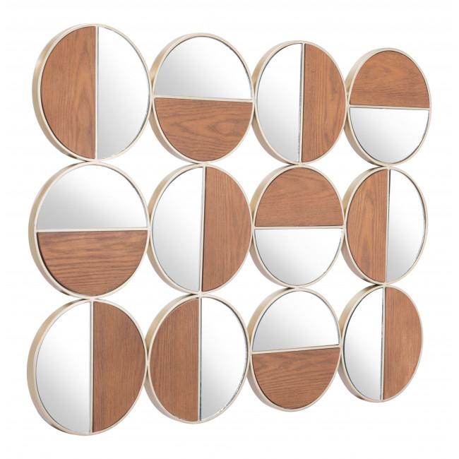 Set of 12 Round Gold and Walnut Finish Wall  Mirrors