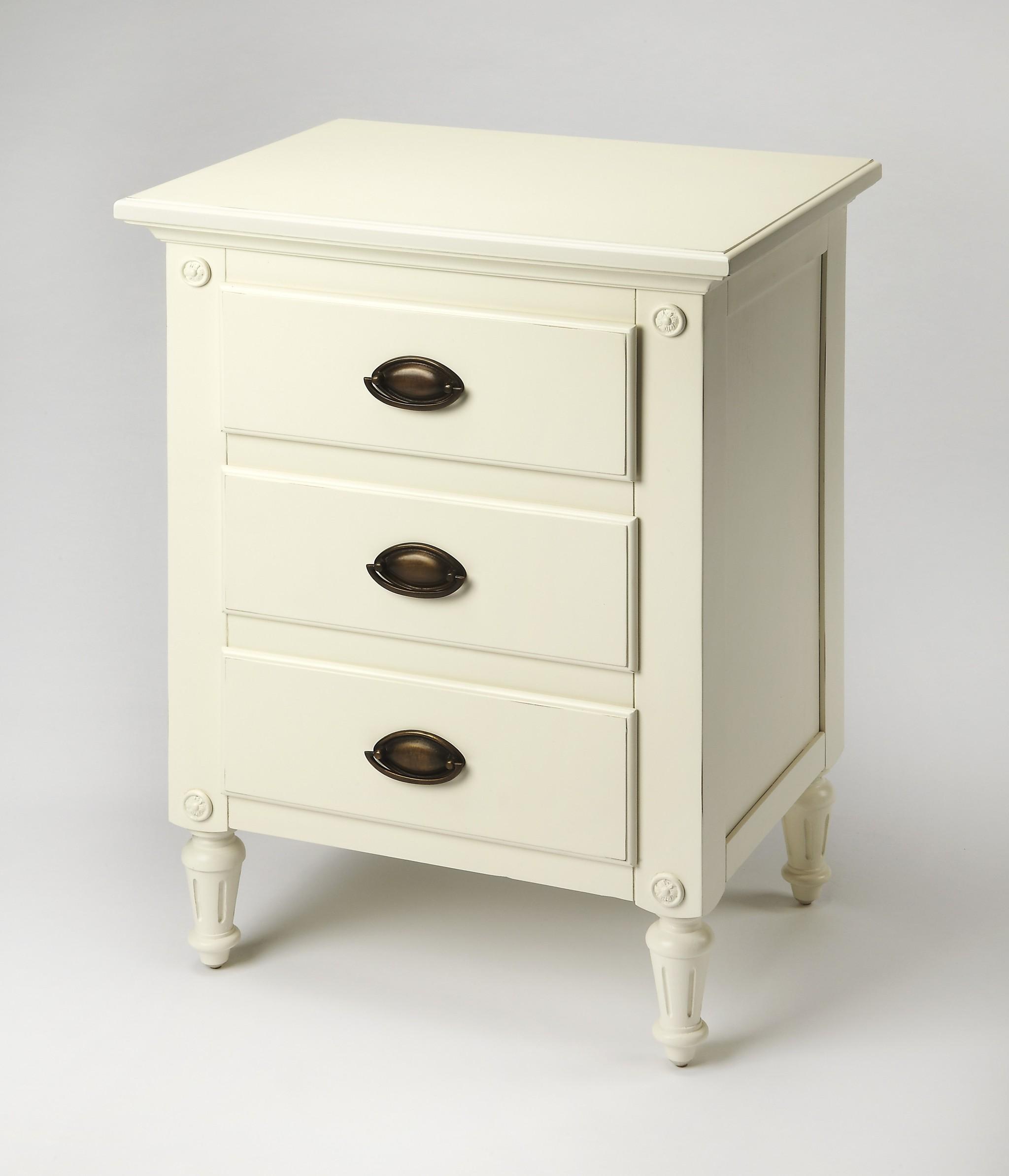 Mahogany White 3 Drawer Nightstand