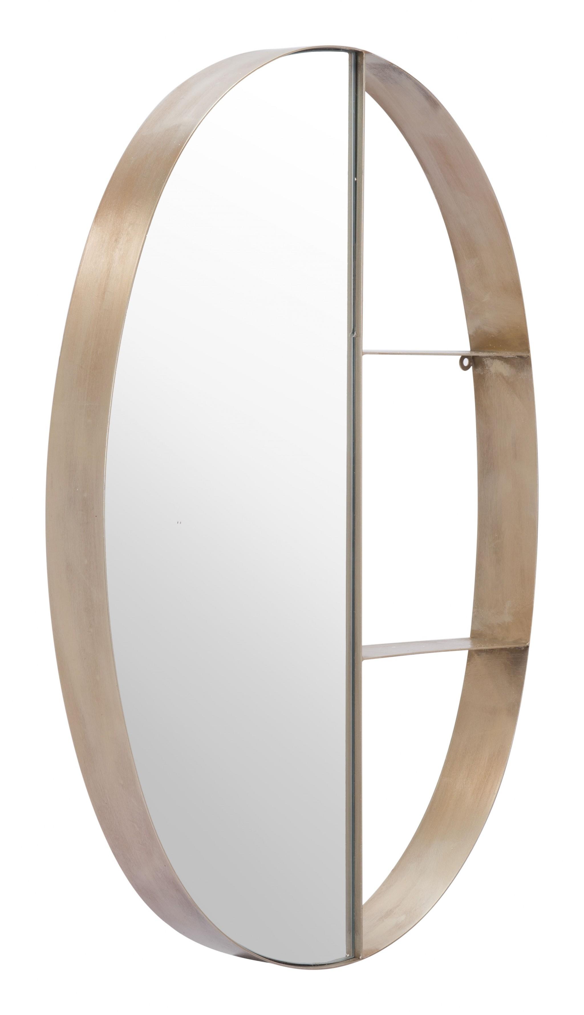 Half Mirror Half Shelf Bronze Unit
