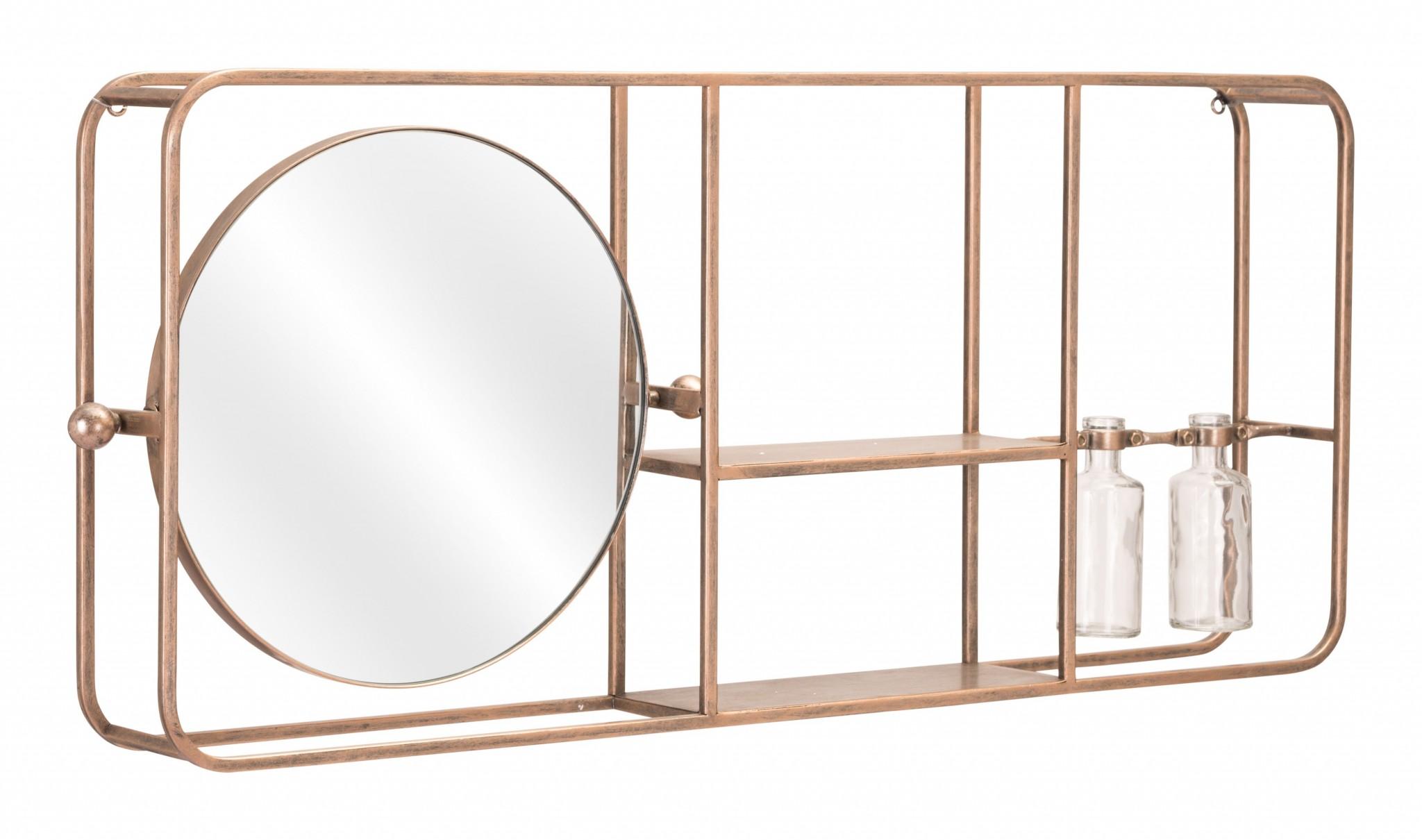 Gold Horizontal Shelf with Round Mirror