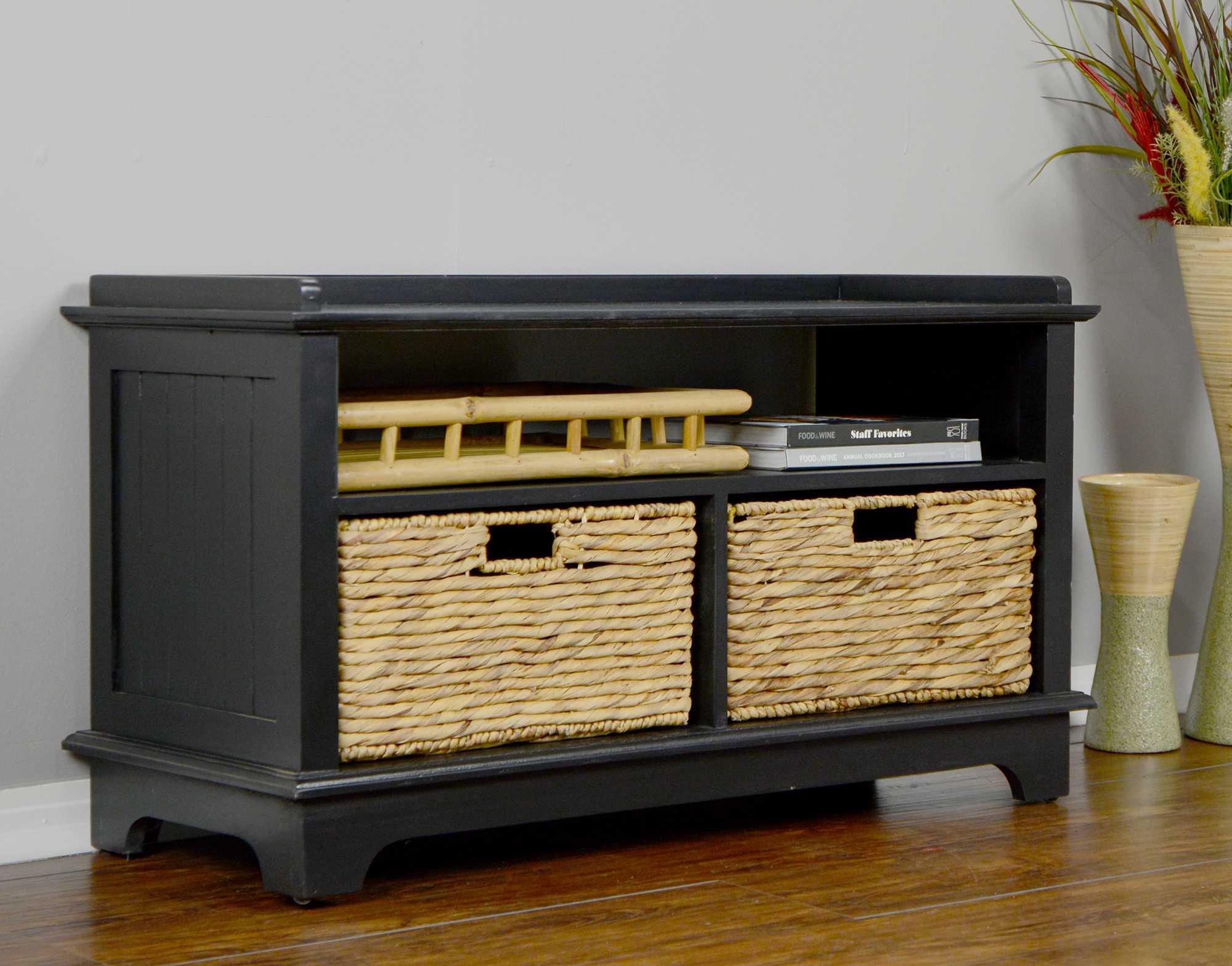 "38.25"" X 15.75"" X 21.75"" Black Wood MDF Water Hyacinth Entertainment Cabinet with Hyacinth Storage Baskets"