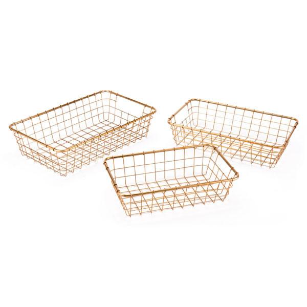 "19.7"" X 11.8"" X 4.9"" 3 Pcs Simple Gold Baskets Grid Trays"