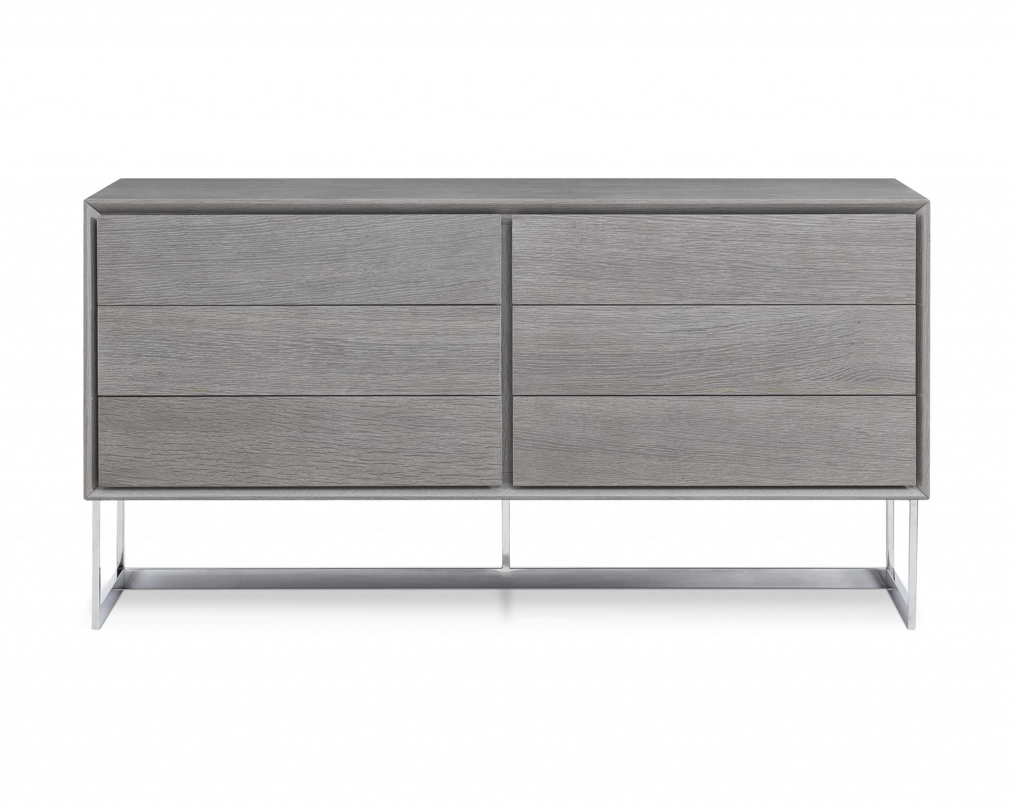 """60"""" X 20"""" X 32"""" Gray oak Stainless Steel Buffet"""