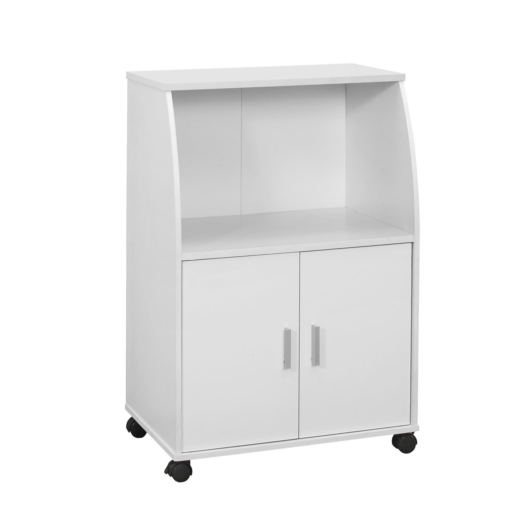 "15.25"" x 22"" x 33"" White Particle Board Laminate  Kitchen Cart"