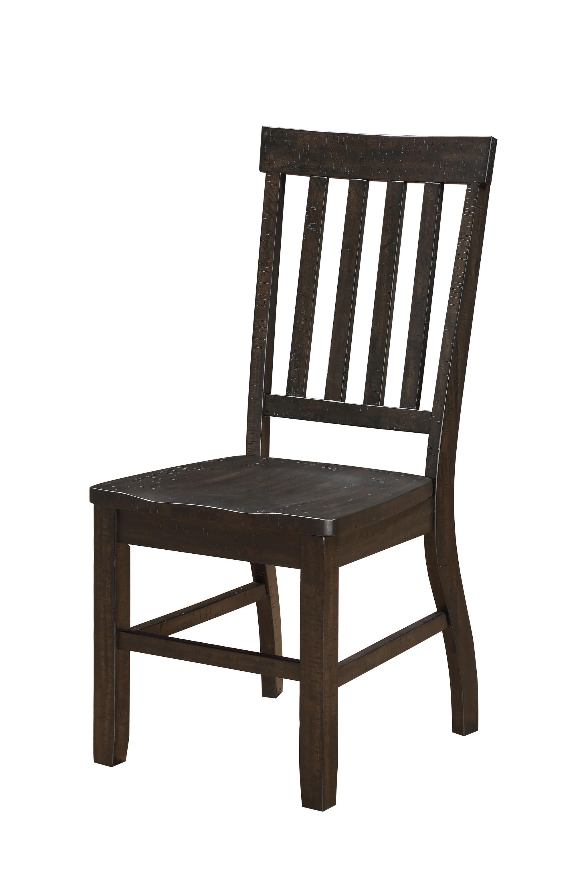 "22"" X 19"" X 40"" Rustic Walnut Wood Side Chair  Set of 2"