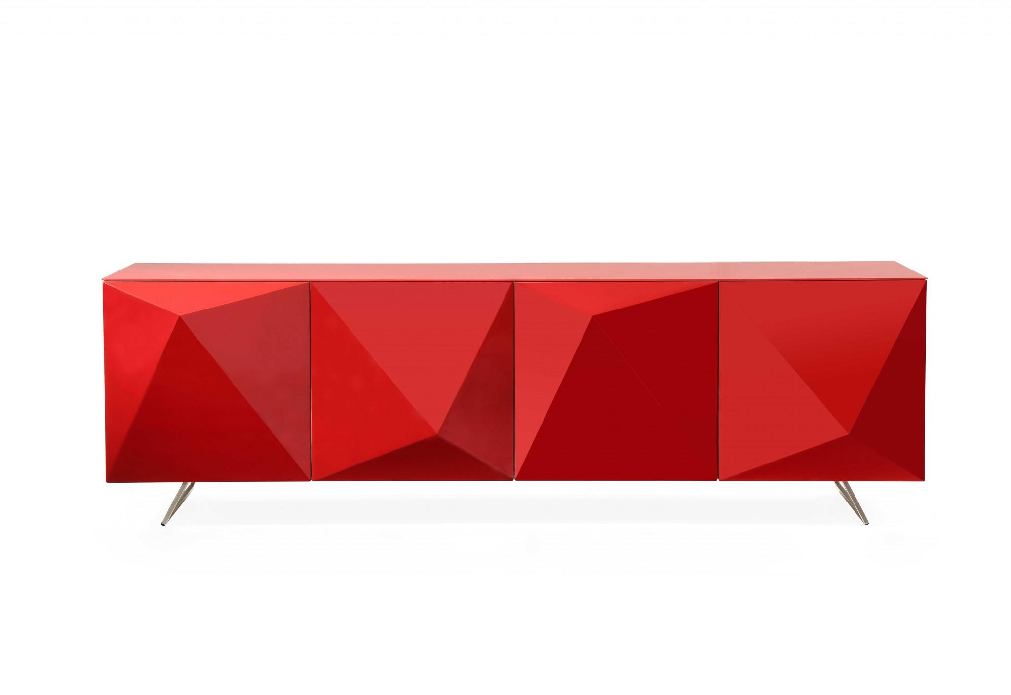 "94"" X 18"" X 29"" Red Metal Buffet"