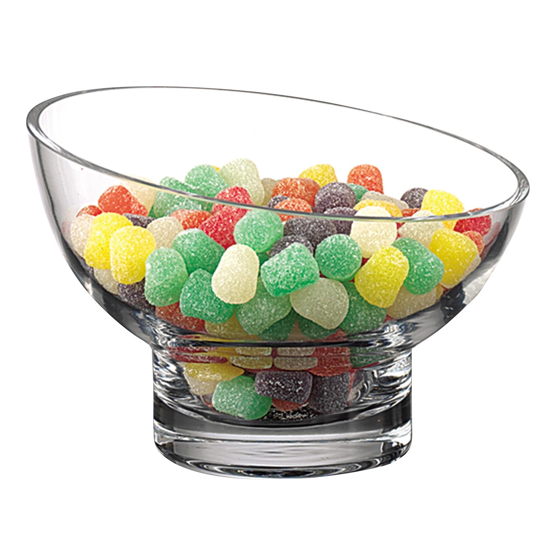 "7"" Mouth Blown Lead Free Slant Cut Candy Serving Glass Bowl"