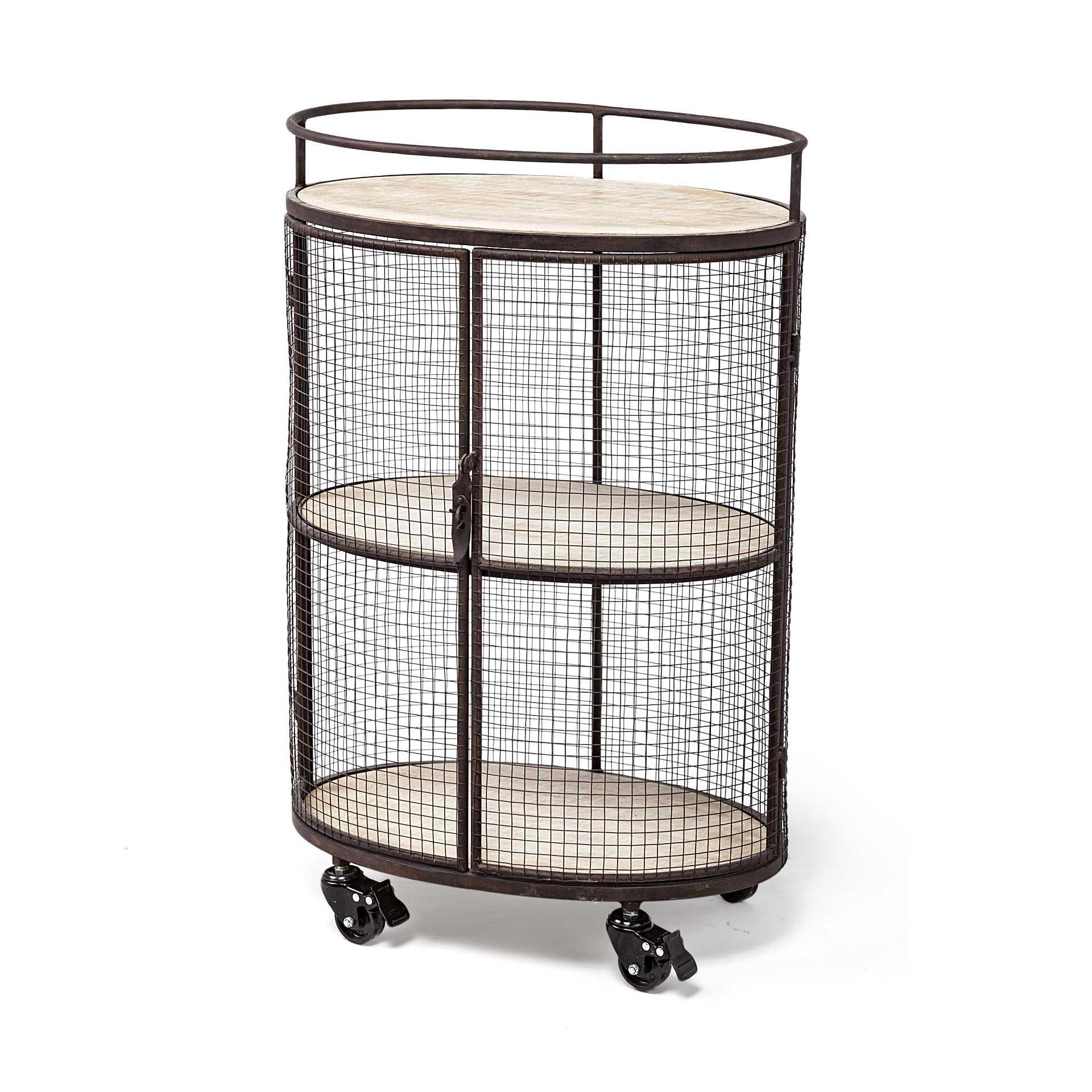 Cylindrical Matte Black Metal Bar Cart
