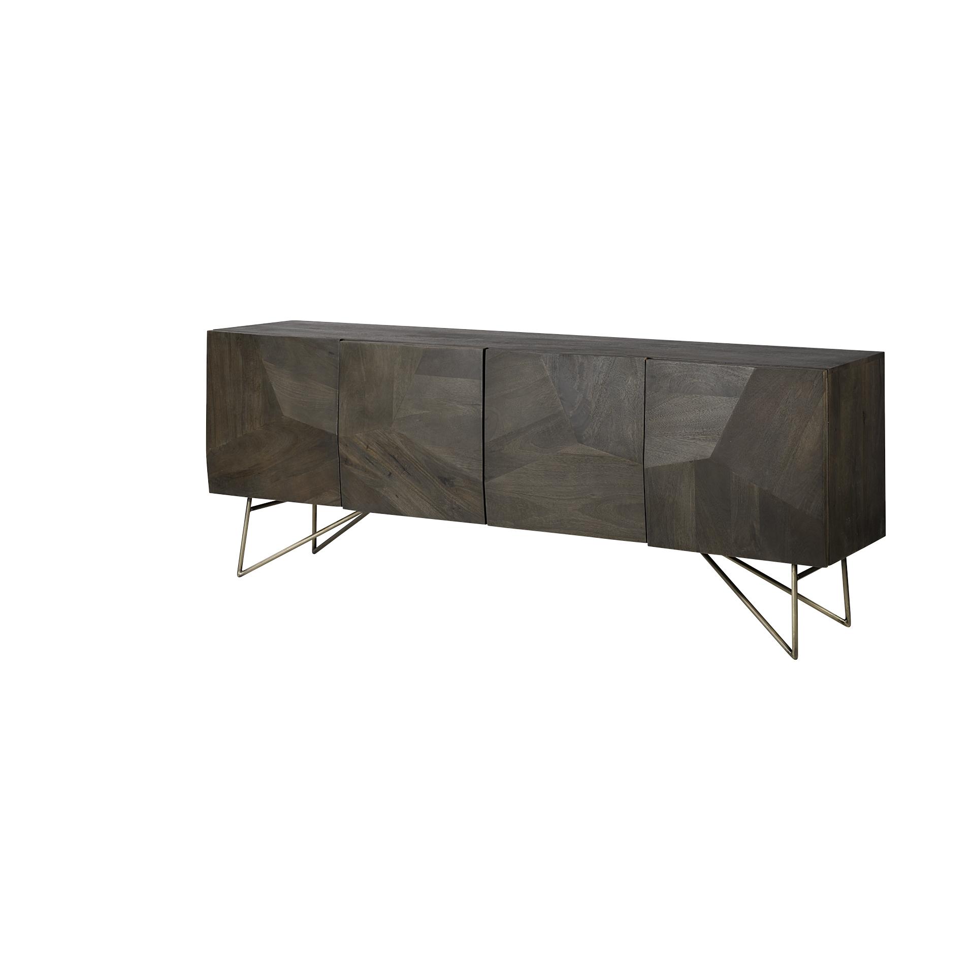 Dark Brown Solid Mango Wood Finish Sideboard With 4 Cabinet Doors