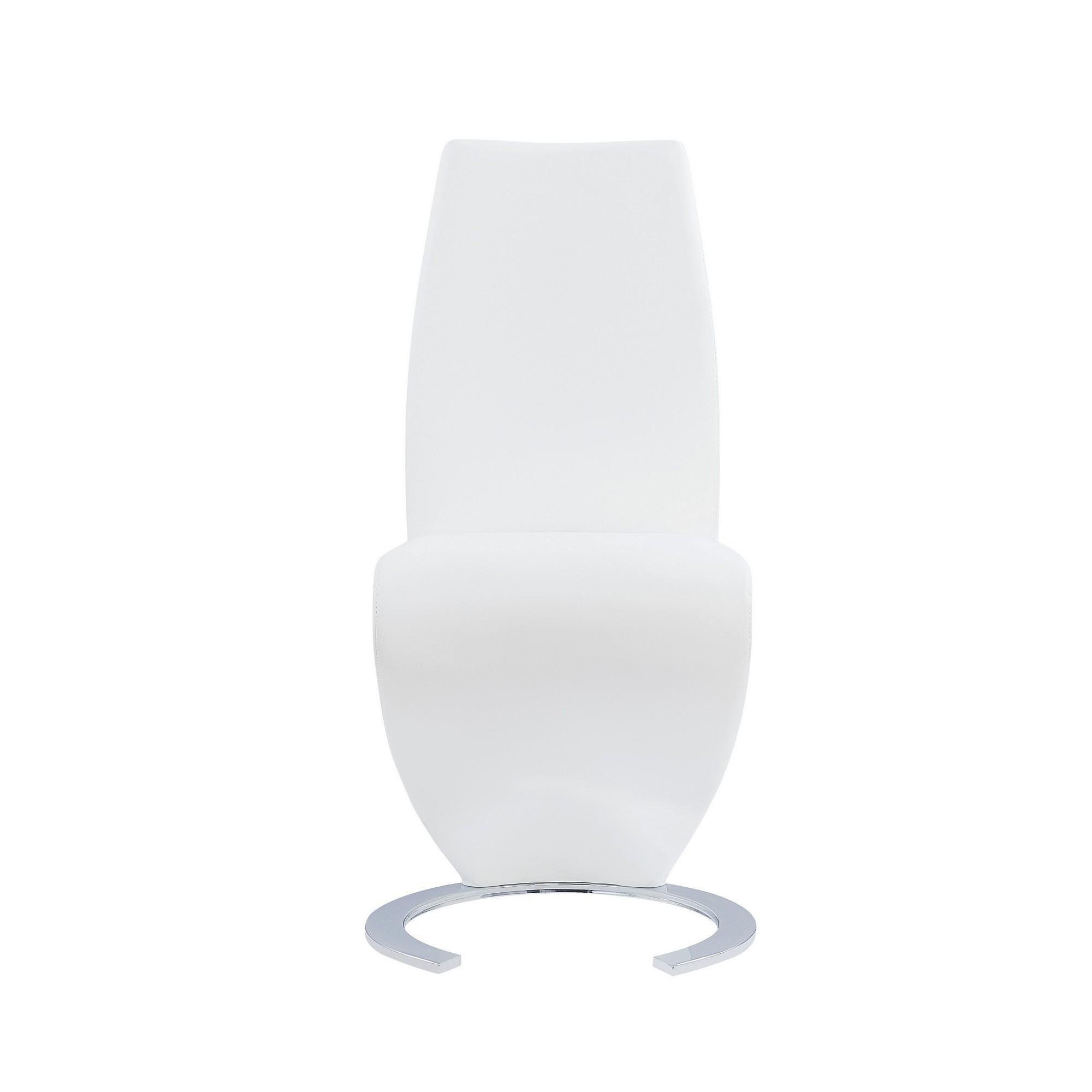 Set of 2 White  Z Shape design Dining Chairs with Horse Shoe Shape Base