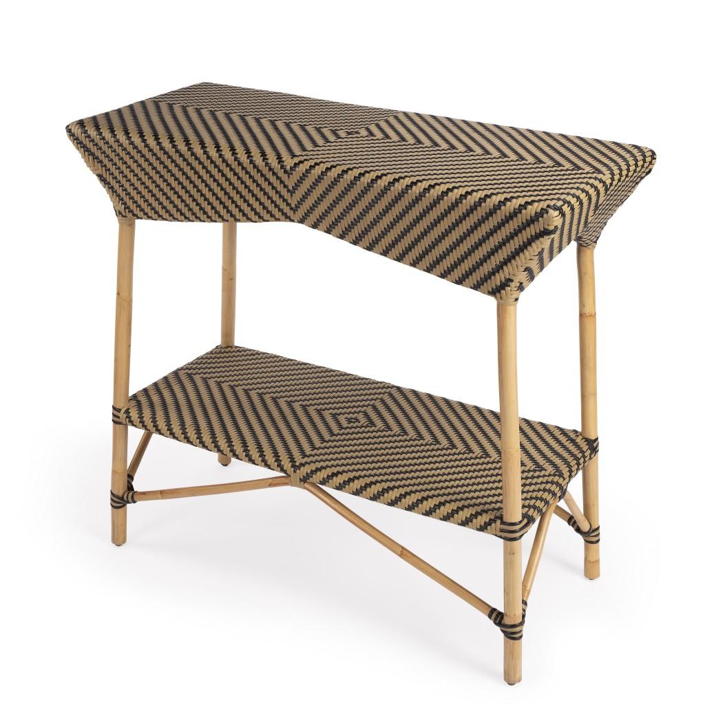 Brown and Beige Rattan Bar Cart