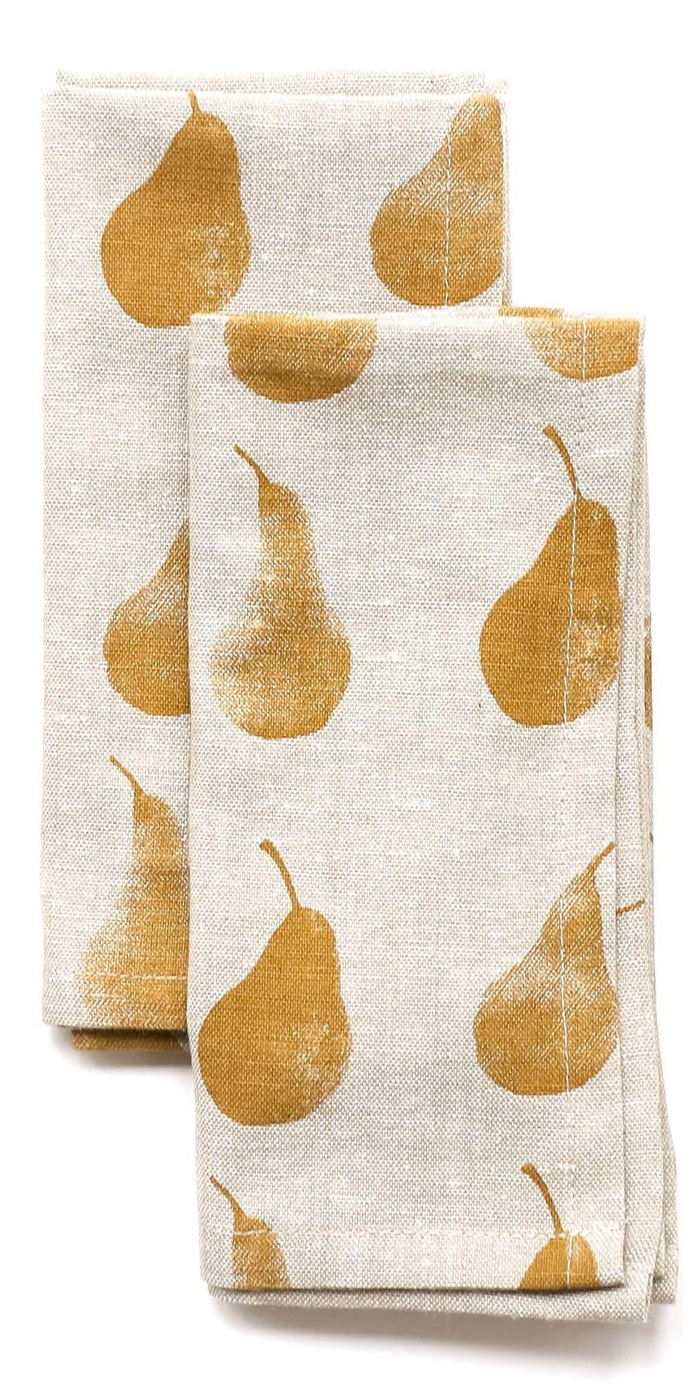 Set of Eight Ochre Pear Pattern Napkins