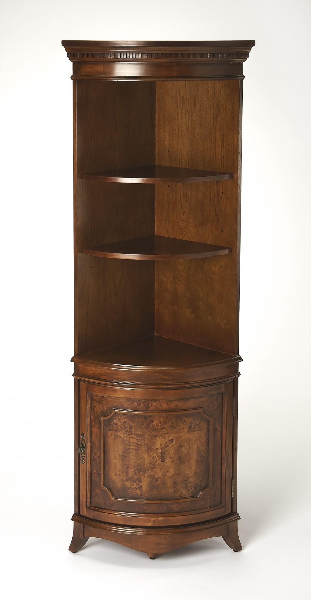 Dowling Olive Ash Burl Corner Cabinet