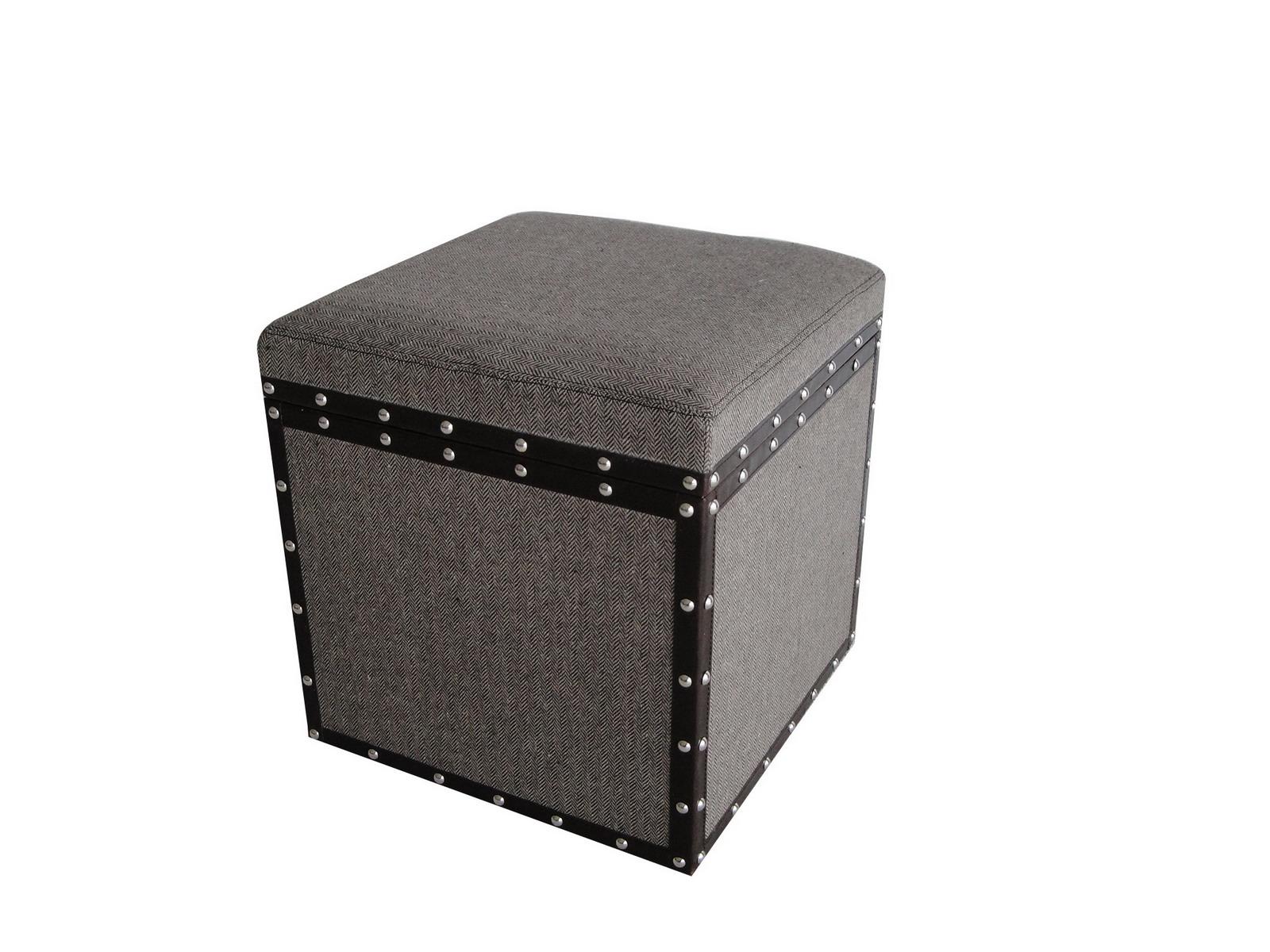 """1"""" x 16"""" x 16"""" Brown Wood Square Tweed Storage  Stool"""
