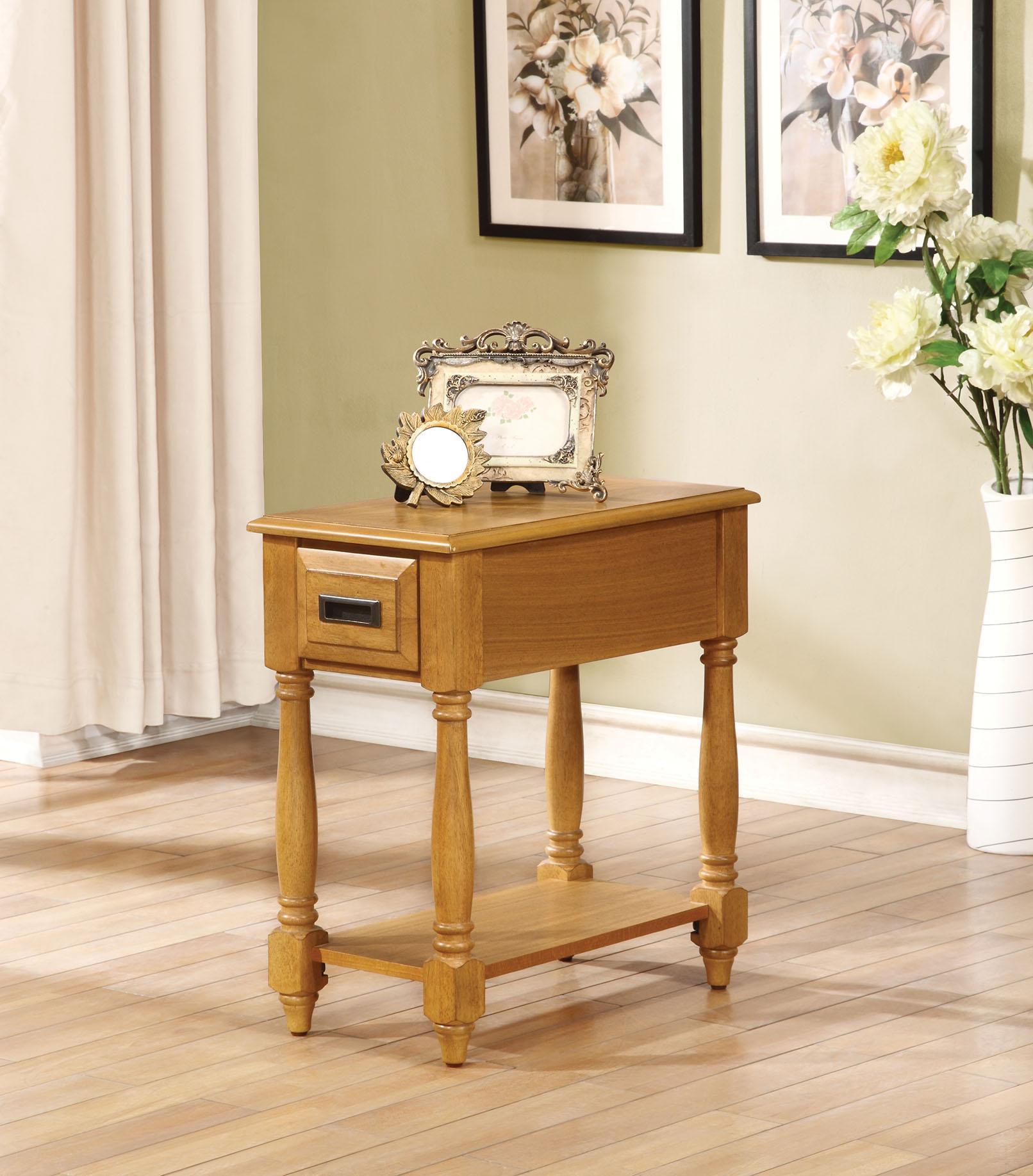 """12"""" X 22"""" X 23"""" Light Oak Rubber Wood Side Table"""