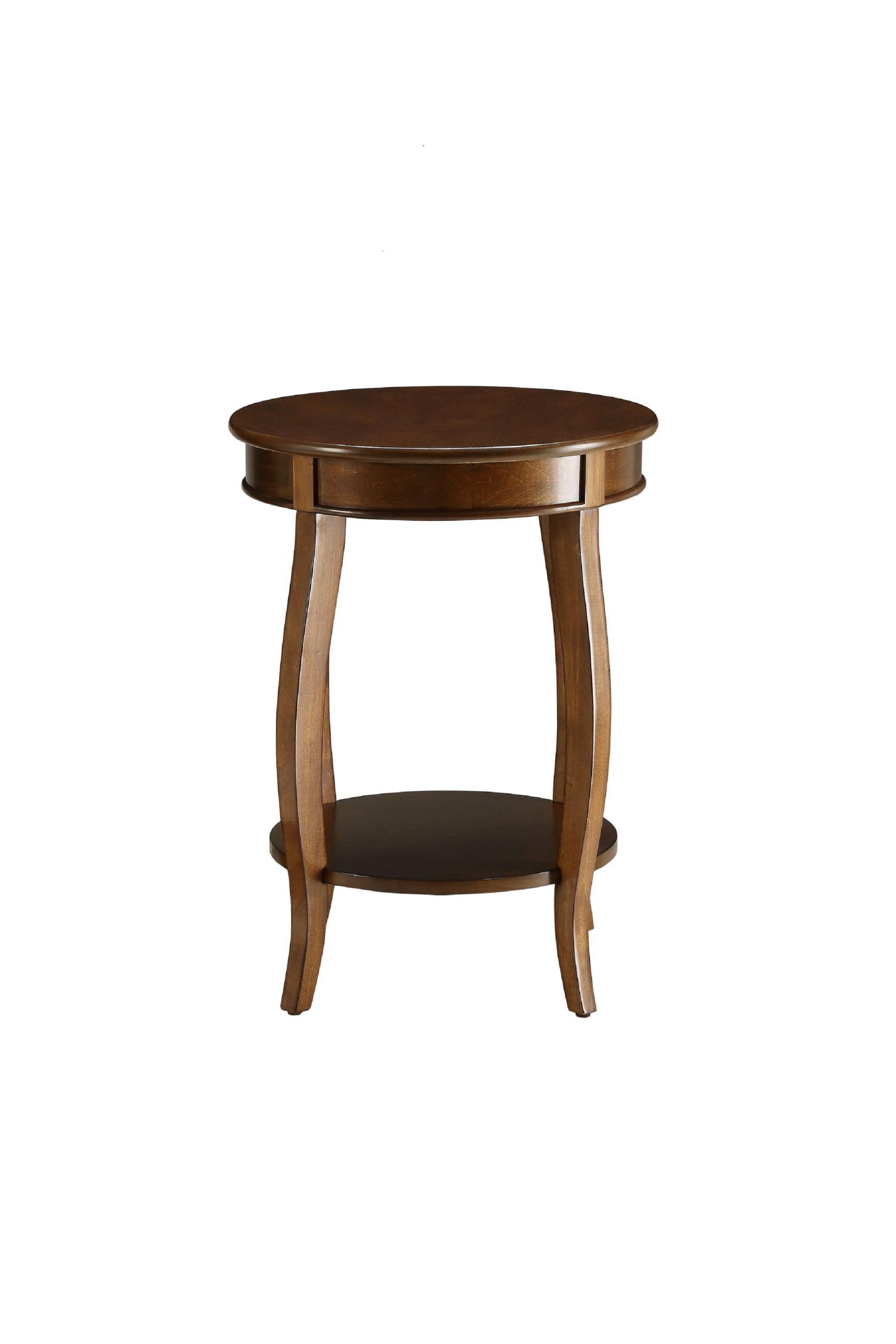 "18"" X 18"" X 24"" Walnut Solid Wood Leg Side Table"