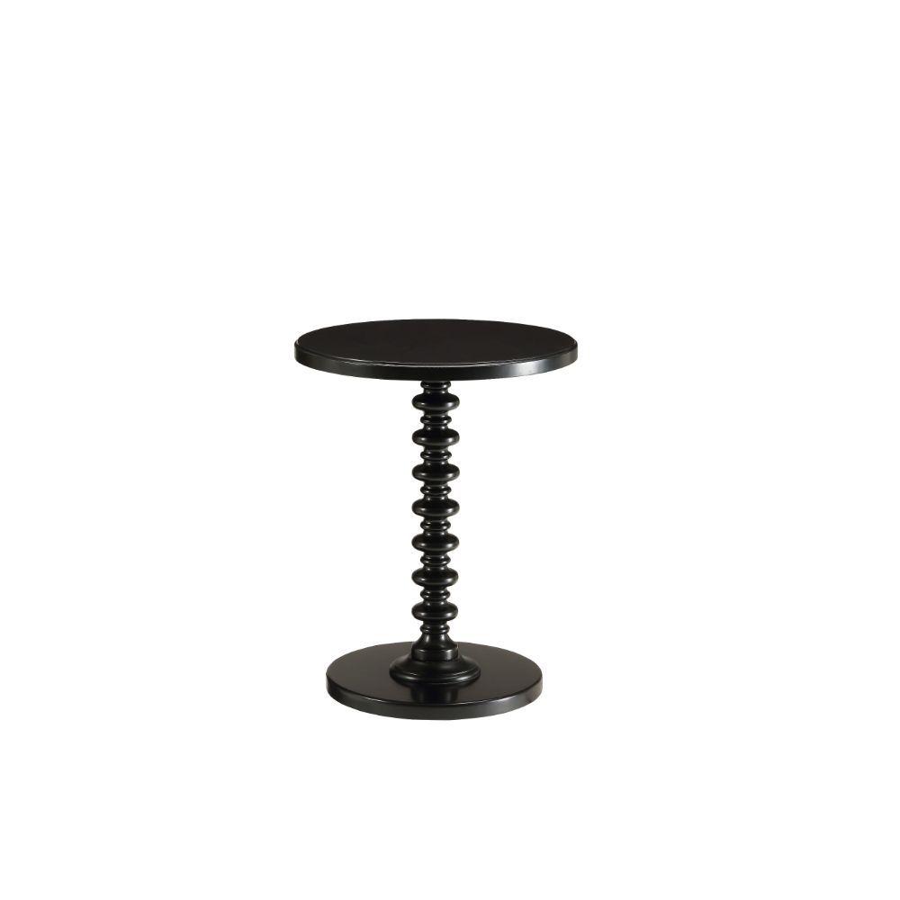 "17"" X 17"" X 22"" Black Solid Wood Leg Side Table"