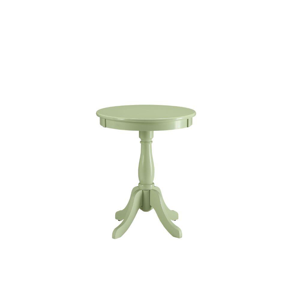 "18"" X 18"" X 22"" Light Green Solid Wood Leg Side Table"