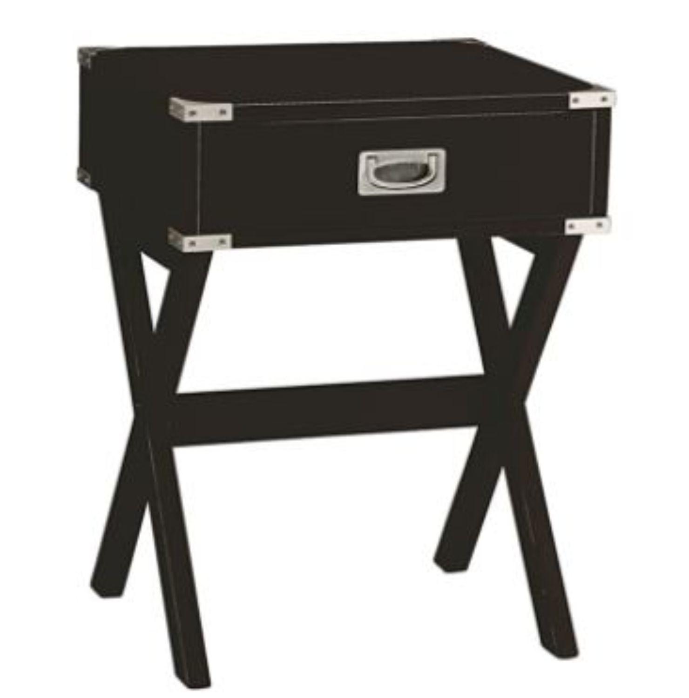 "18"" X 16"" X 24"" Black Solid Wood Leg End Table"